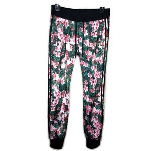Adidas Pink Red Black Floral Printed Jogger Pants